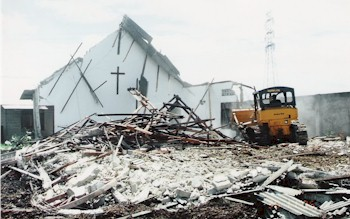 Image result for images of church being bulldozed